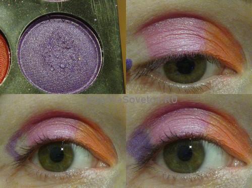 Нанесем фиолетовые тени