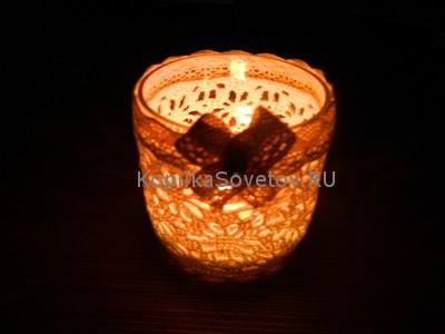 Подсвечник из банки со свечой