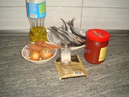 Ингредиенты для тушеной салаки